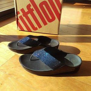 Fitflop brand flip flop sandals sapphire blue